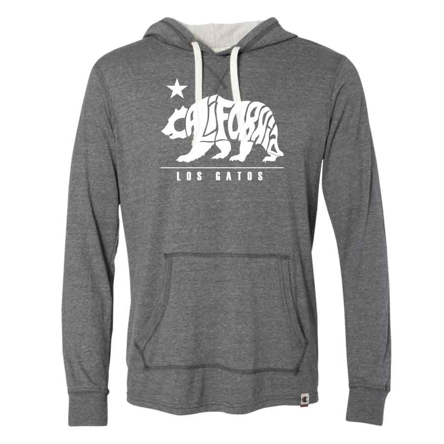 Los Gatos Men's Cali Bear Champion Pullover Hood - charcoal heather with white  logo