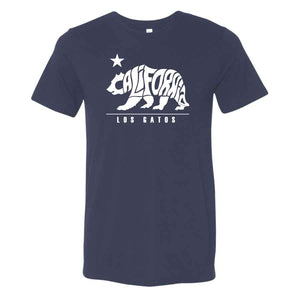 Los Gatos Men's Cali Bear T-Shirt - navy with white  logo