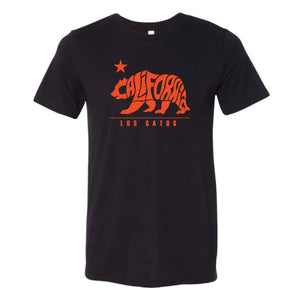 Los Gatos Men's Cali Bear T-Shirt - black with orange logo