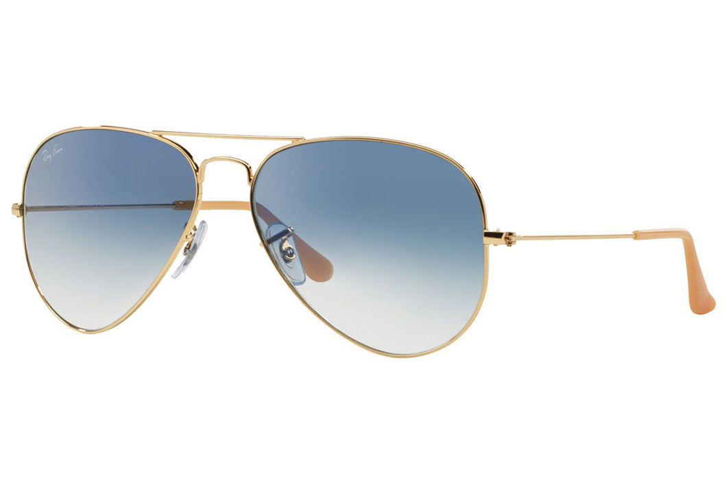 Ray Ban Aviator Gradient Sunglass - polished gold - light blue gradient lens