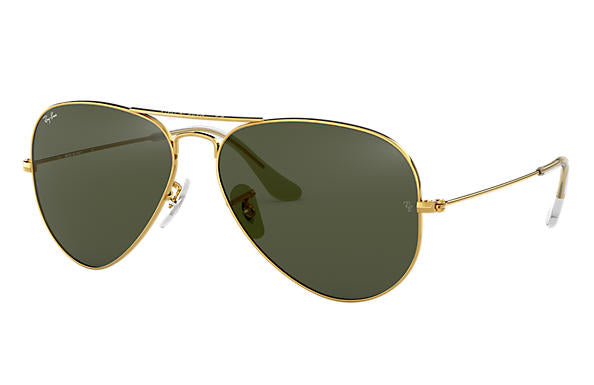 Ray Ban Aviator Classic Sunglass - polished gold - green classic G-15 lens