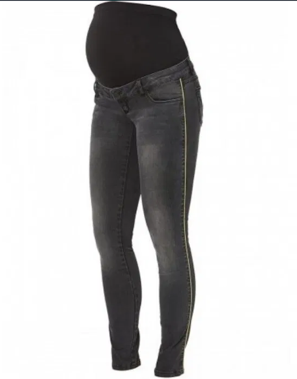 MAMALICIOUS SLIM FIT UMSTANDSJEANS BLACK USED MIT SILBERNER PASPEL