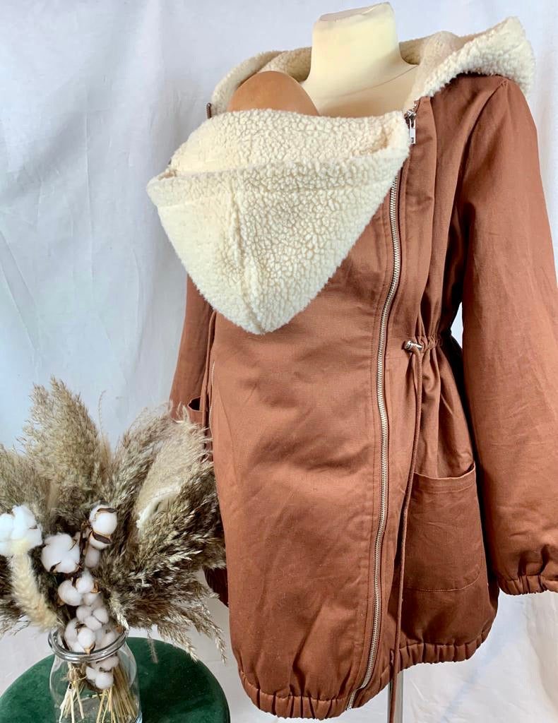 MAMALICIOUS WOLLMANTEL/JACKE 3in1 BROWN-BEIGE