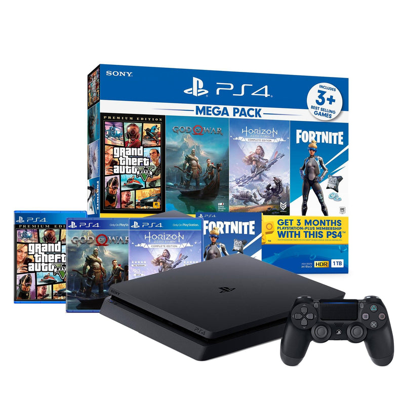 PS4 CONSOLE 1TB (JET BLACK) CUH-2218B B01 REG.3 MEGA PACK (GTA V + GOD OF WAR + HORIZON ZERO DAWN + FORTNITE)