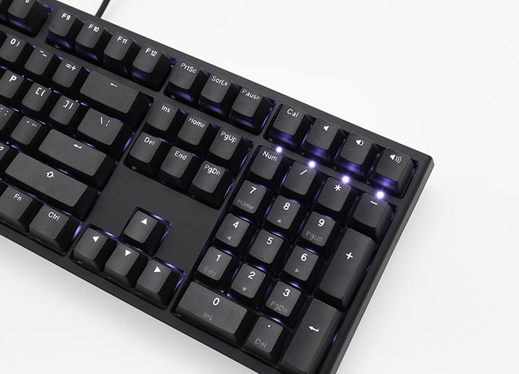 DUCKY ONE 2 BLACK CASE WHITE LED DOUBLE SHOT PBT MECHANICAL KEYBOARD CHERRY MX BLUE (DKON1808S-CUSPDAZW1)