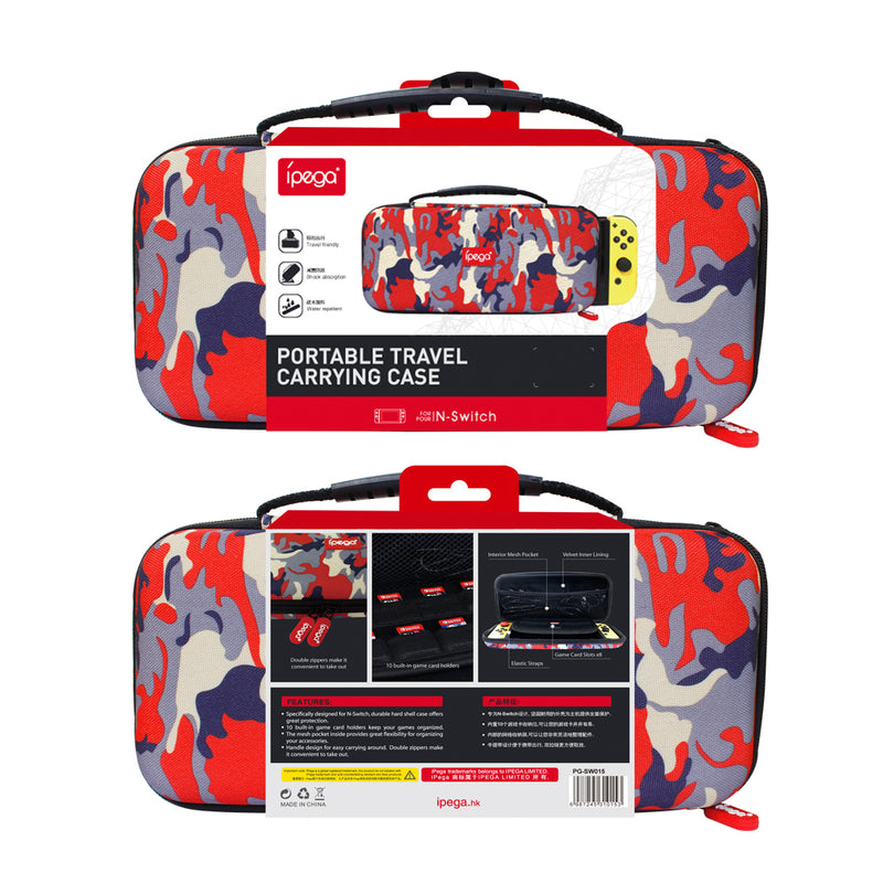 IPEGA PORTABLE TRAVEL CARRYING CASE RED CAMOUFLAGE FOR N-SWITCH (PG-SW015)