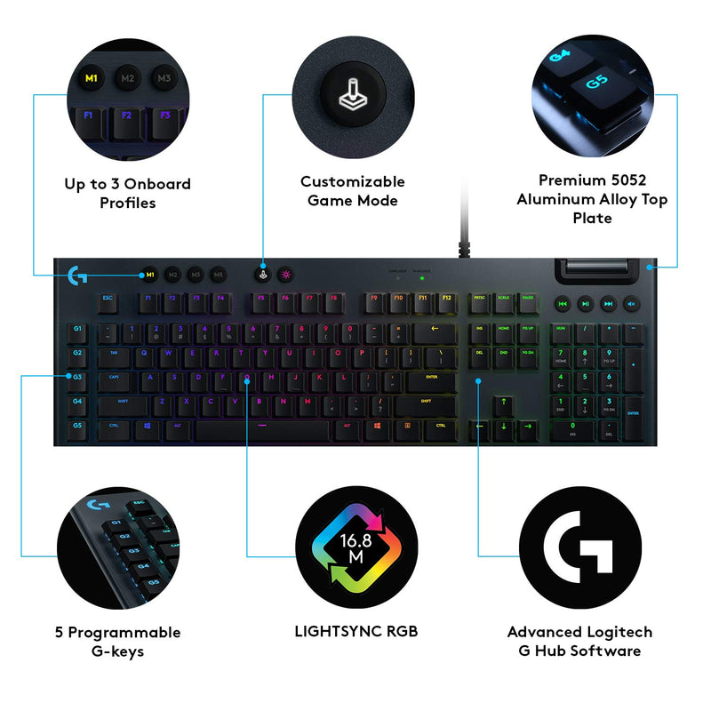 LOGITECH G813 LIGHTSYNC RGB MECHANICAL GAMING KEYBOARD (GL CLICKY SWITCH)