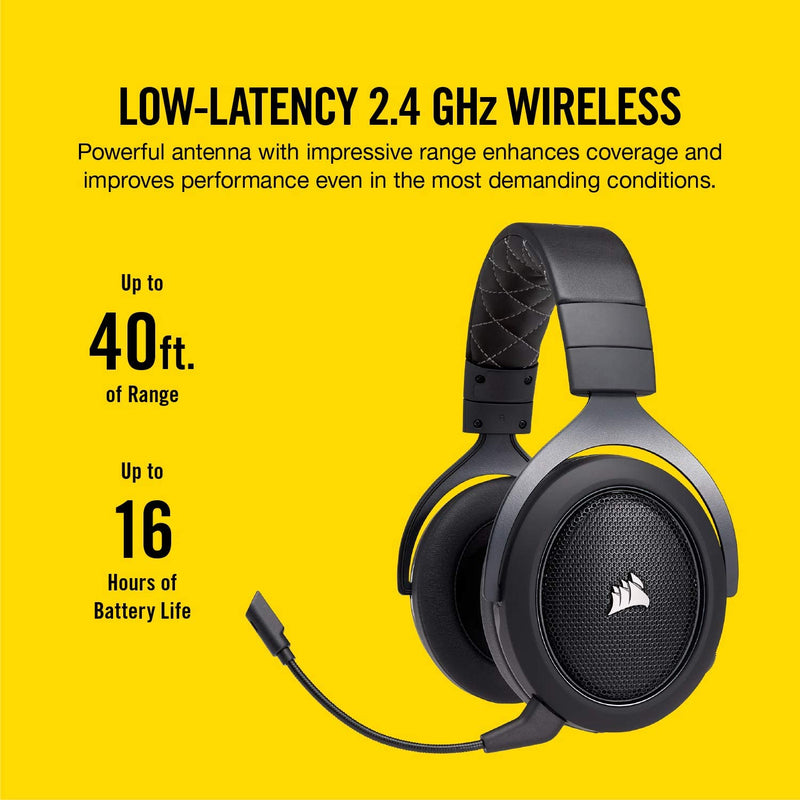 CORSAIR HS70 PRO WIRELESS GAMING HEADSET WITH 7.1 SURROUND SOUND (CARBON)