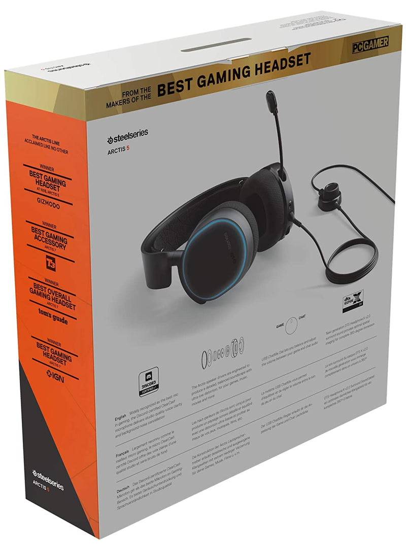 STEELSERIES ARCTIS 5 BLACK 7.1 SURROUND RGB GAMING HEADSET 2019 EDITION (PN61504)