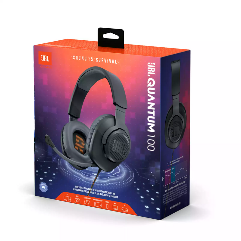 JBL QUANTUM 100 WIRED OVER-EAR GAMING HEADSET WITH DETACHABLE MIC (BLACK)