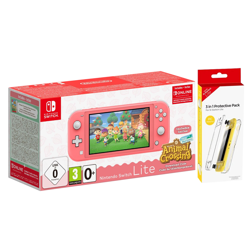 NINTENDO SWITCH LITE CONSOLE CORAL (W/ ANIMAL CROSSING NEW HORIZON DOWNLOAD CODE) (EU) BUNDLE + DOBE 3 IN 1 PROTECTIVE PACK TNS-19170