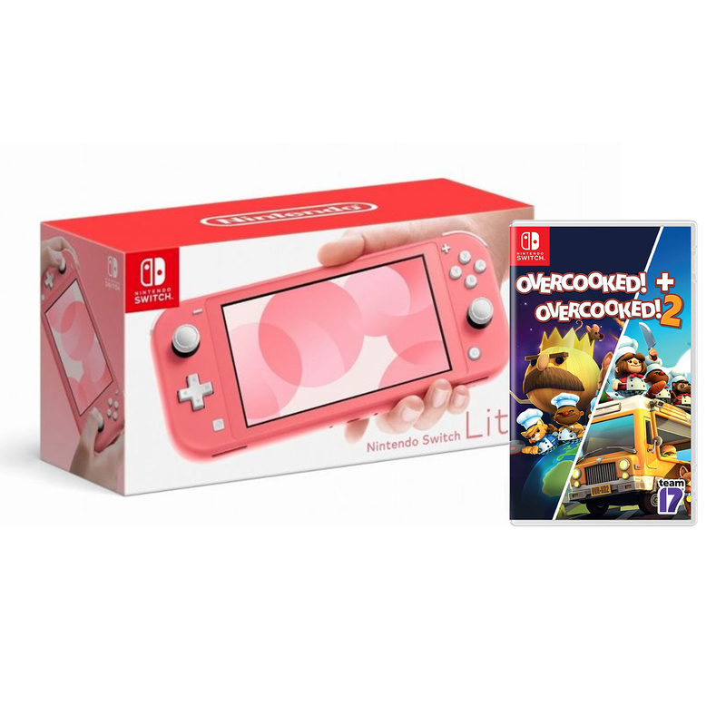 NINTENDO SWITCH LITE CONSOLE CORAL (INCLUDES NSW-OVERCOOKED! + OVERCOOKED! 2) (MDE)