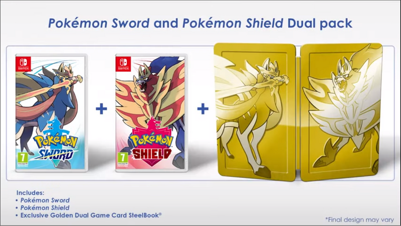 NSW POKEMON SHIELD W/ GOLD STEELBOOK (MDE)
