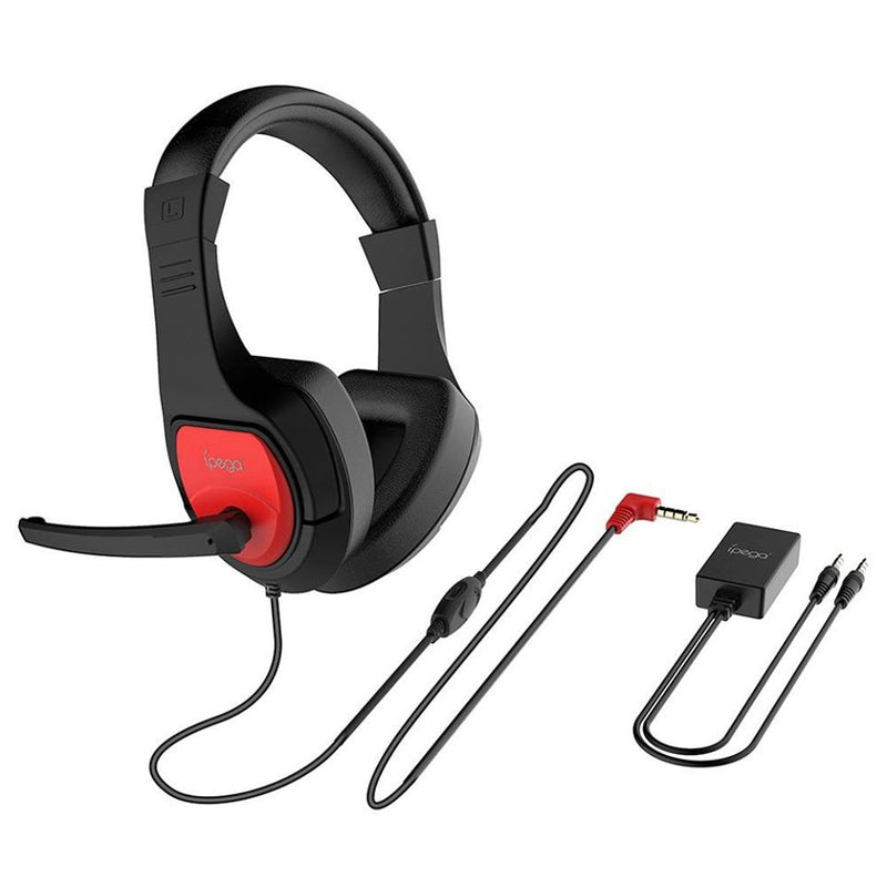 IPEGA GAMING HEADSET WITH AUDIO CONVERTER FOR (N-SWITCH/PS4/SMARTPHONES/TABLETS/PC) (PG-R001)