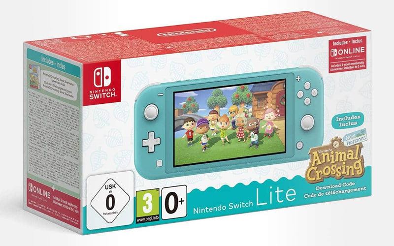 NINTENDO SWITCH LITE CONSOLE TURQUOISE (W/ ANIMAL CROSSING NEW HORIZON DOWNLOAD CODE) (EU) BUNDLE + DOBE 3 IN 1 PROTECTIVE PACK TNS-19170