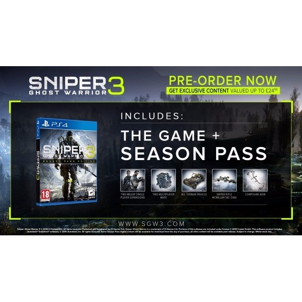 PS4 SNIPER GHOST WARRIOR 3 SEASON PASS EDITION ALL