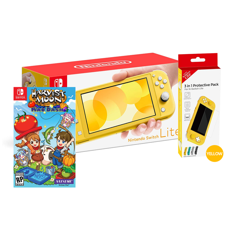 NINTENDO SWITCH LITE YELLOW + DOBE 3 IN 1 PROTECTIVE PACK YELLOW (TNS-19180) + NSW-HARVEST MOON MAD DASH (US)(ENG/FR) BUNDLE