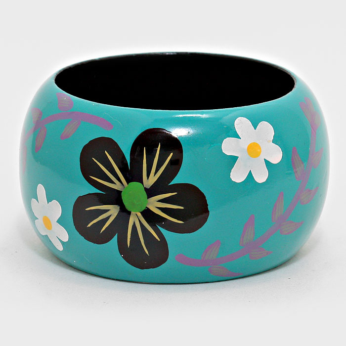 Floral Print Wood Bangle **Available for Next Day Shipping**