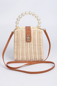 Straw Beaded Handle Bag  **Available for Next Day Shipping**