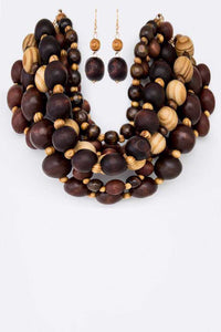 Mixed Bead Wood. Necklace Set