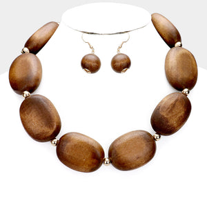 Wood Collar Necklace Set **Available for Next Day Shipping**