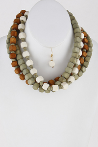 Square Wood Beaded Necklace Set **Available for Next Day Shipping**