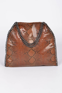 Chain Trim Snake Print Handbag **Brown Available for Next Day Shipping**