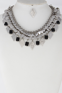 Diamond Patterned Necklace Set **Silver Available for Next Day Shipping**