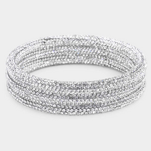 Load image into Gallery viewer, Pave Style Rhinestone Bangle Set