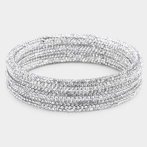 Pave Style Rhinestone Bangle Set