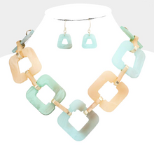 Load image into Gallery viewer, Celluloid Open Square Link Necklace Set  **Mint Color available for next day shipping**
