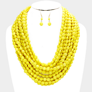 Multi Strand Faceted Necklace Set  **Most Available for Next Day Shipping**