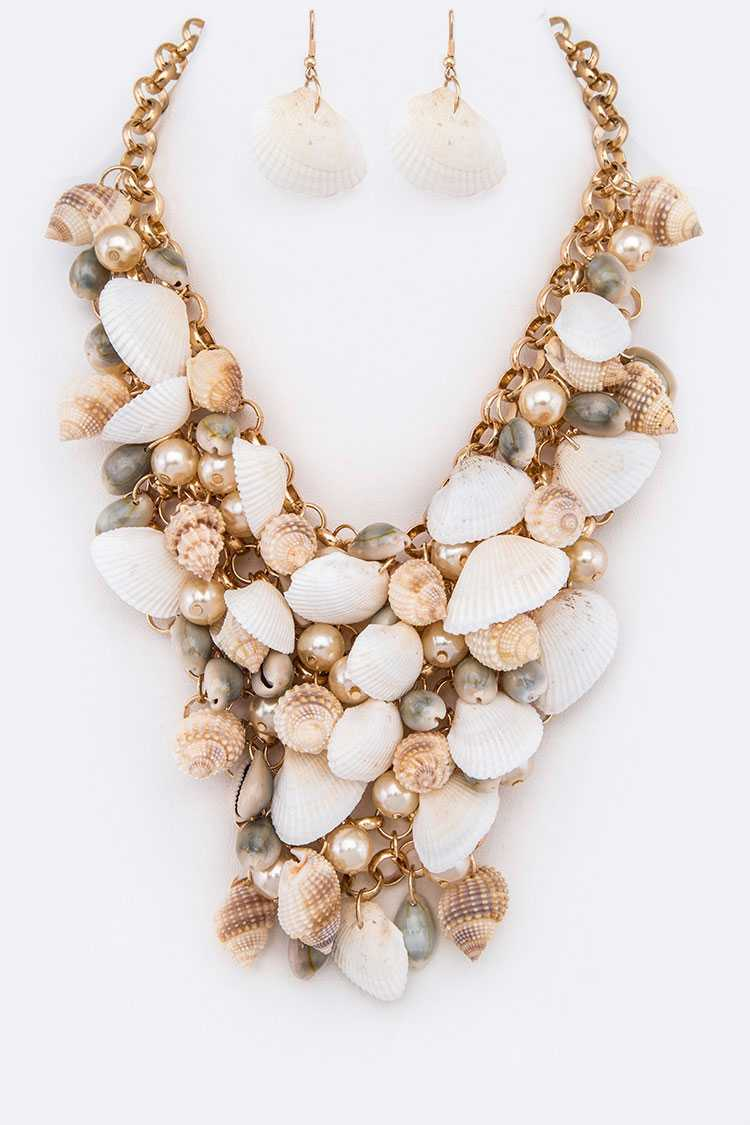 Sea Shell Mix Statement Necklace Set **Available for Next Day Shipping**