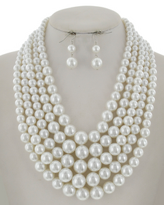 5 Row Pearl Necklace Set **Delayed Shipping Sue to COVID-19**