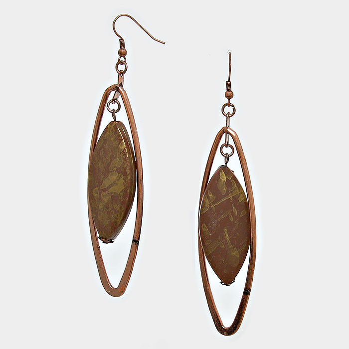 Metal & Wood Dangle Earring **Available for Next Day Shipping**