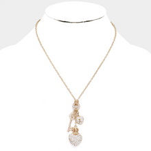 Load image into Gallery viewer, Rhinestone Pave Heart & Key Pendant **Gold Available for Next Day Shipping**