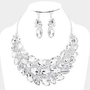 Chunky Crystal Rhinestone Necklace Set  **Available for Next Day Shipping**