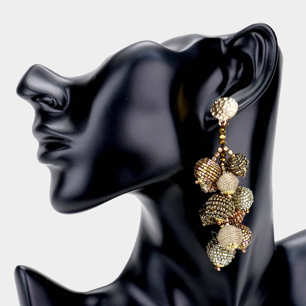 Beaded Ball Cluster Earring  **Available for Next Day Shipping**