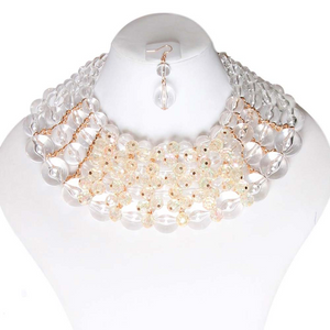 Clear Bead Collar Necklace Set  **Available for Next Day Shipping**