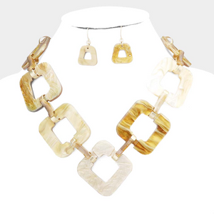 Celluloid Open Square Link Necklace Set  **Mint Color available for next day shipping**