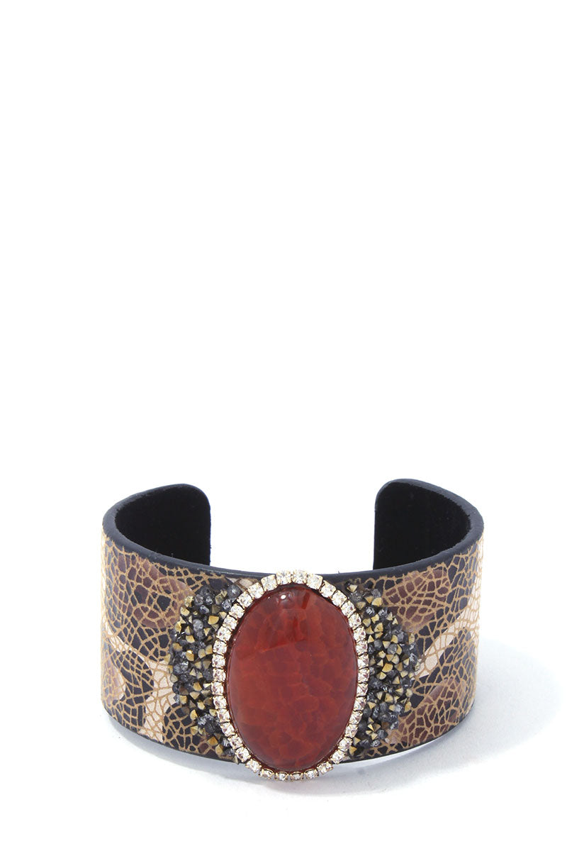 Stone Cuff Bracelet  **Available for Next Day Shipping**