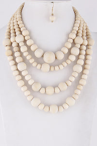 Natural Wood Layered Necklace Set  **Available for Next Day Shipping**