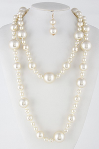 Mixed Pearl Long Necklace Set