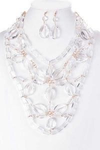 Acrylic Clear Bib Statement Necklace Set  **Delayed Shipping Due to COVID-19**