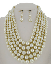 Load image into Gallery viewer, 5 Row Pearl Necklace Set **Delayed Shipping Sue to COVID-19**