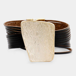 Textured Irregular Faux Leather Magnetic Bracelet **Available for Next  Day Shipping**