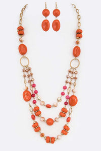 Mix Bead Long Layer Necklace Set