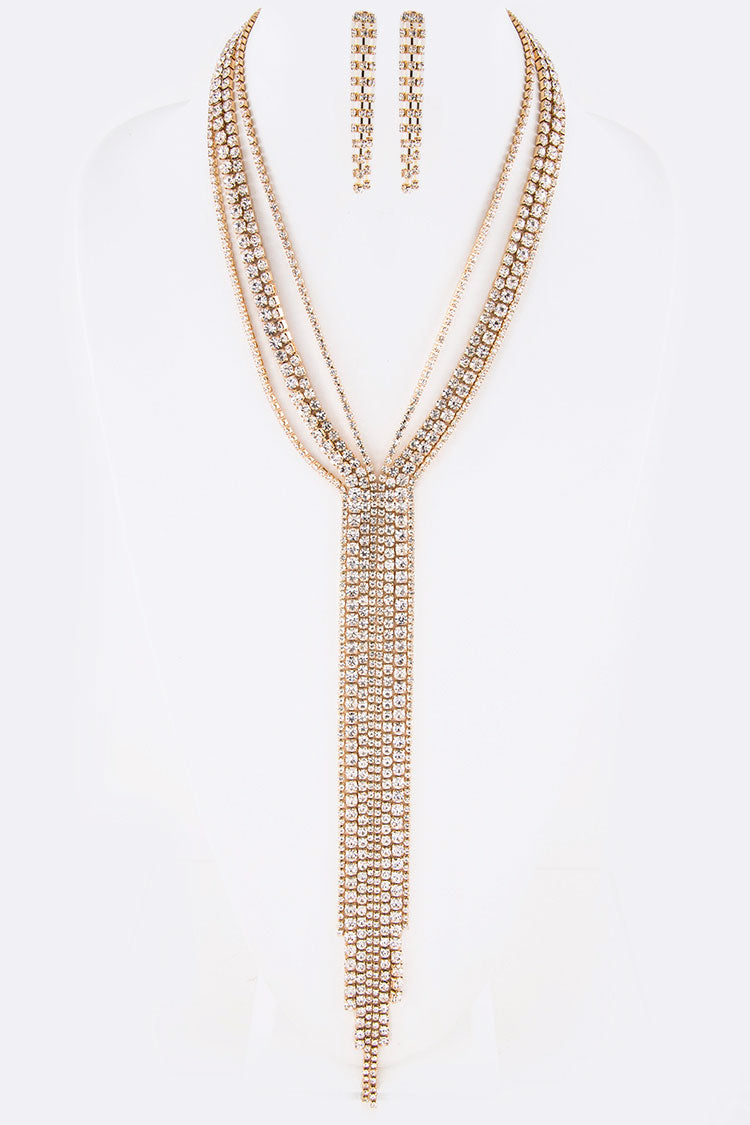 Rhinestone Long Chain Fringe Necklace Set  **Gold Available for Next Day Shipping**