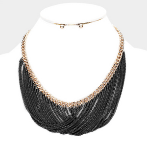 Chain Layered Bib Necklace  **Available for Next Day Shipping**
