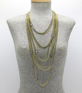 Long Metal Multi Strand Necklace  **Available for Next Day Shipping**